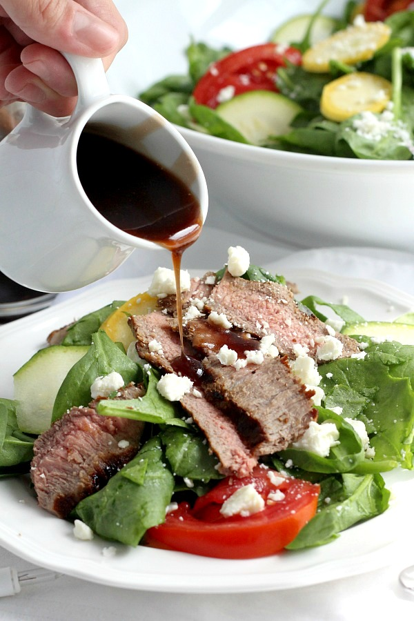 Easy recipe for a delicious cherry balsamic vinaigrette made with cherry preserves. Full of flavor and perfect on a bed of mixed greens or spinach.  Add your favorite salad add-ins. Serve as is or top with grilled steak, chicken or shrimp.