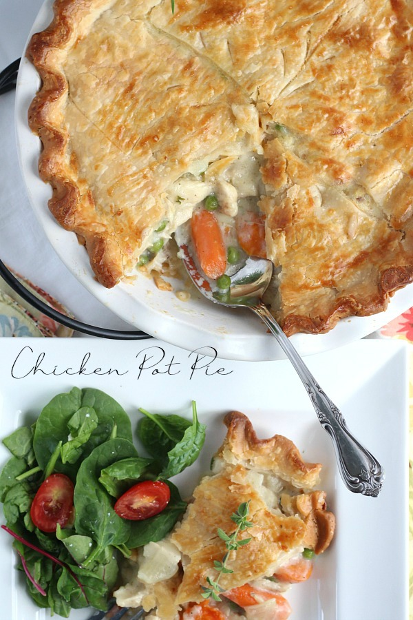 Chicken Pot pie is an all-time favorite comfort food and for good reason. Chunks of tender chicken, carrots and peas in a creamy gravy with a flaky, golden pie crust. A great meal for Sunday dinner or a family weeknight meal. Make it easy and cut prep time by using rotisserie chicken and frozen vegetables.