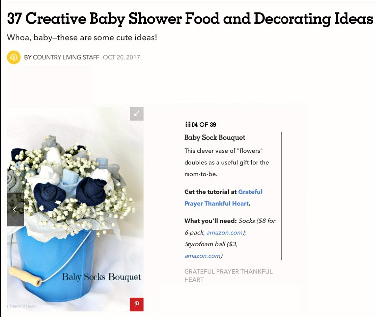 Country Living Magazine featured Grateful Prayer Thankful Heart Baby Sock Bouquet Craft Post.