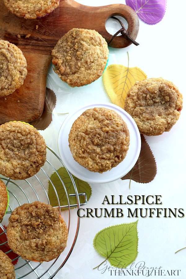 Easy recipe for Allspice Crumb muffins perfect for breakfast or snacking with coffee, tea or a cold glass of milk.