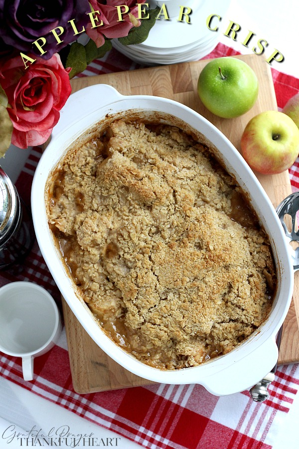 Old-fashioned Apple Pear Crisp with a crumbly oatmeal topping is going to be your favorite autumn dessert. Perfect blend of apple, pear, citrus, cinnamon & nutmeg. It is an easy, uncomplicated recipe and great when you need a treat to share.