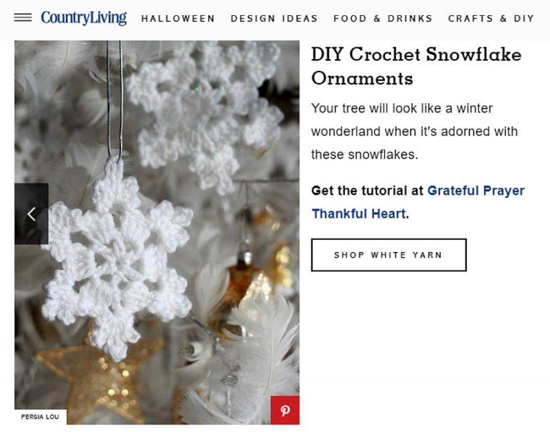 Country Living Magazine featured Grateful Prayer Thankful Crochet Snowflake Pattern Post.