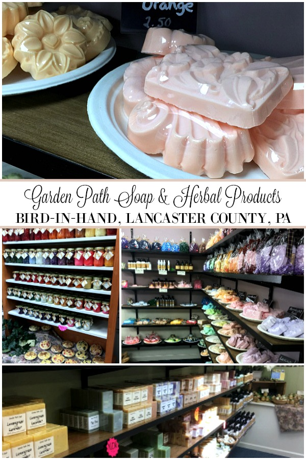 Garden Path Soap & Herbal Products located in Bird-in-Hand, Pennsylvania Dutch area of Lancaster County has a huge line of homemade, natural soaps and a full line of richly scented palm wax candles. Don't miss hidden gem to stock up on personal and gift-giving items.