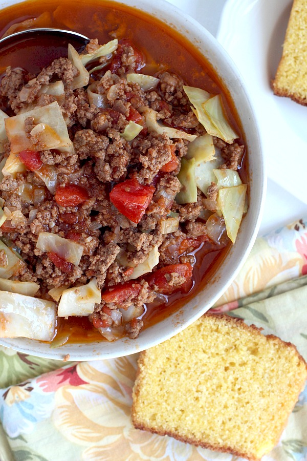 Do you like stuffed cabbage rolls but not the work and mess? Unstuffed Cabbage Soup is super easy and has all of the tastes you love. It is delicious! Serve a piping hot bowlful with cornbread if you would like.