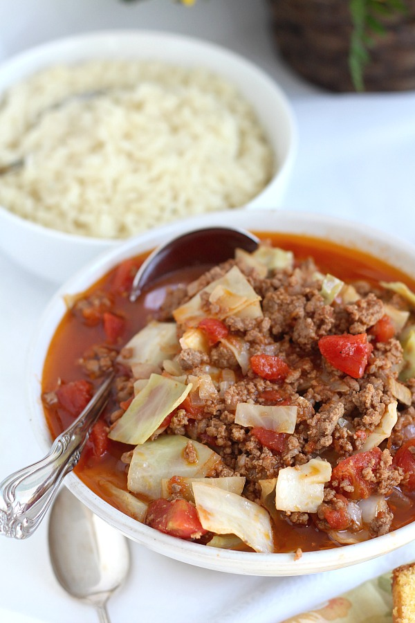 Like stuffed cabbage rolls but not the work and mess? Unstuffed Cabbage Soup is super easy and has all of the tastes you love. It is delicious!