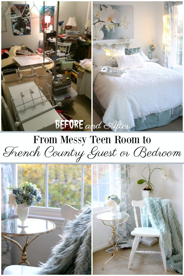 Before and After ~ DIY Bedroom makeover from messy teen room to Mom's French Country retreat. A bright, beautiful place for reading, resting and relaxing all done on a budget.