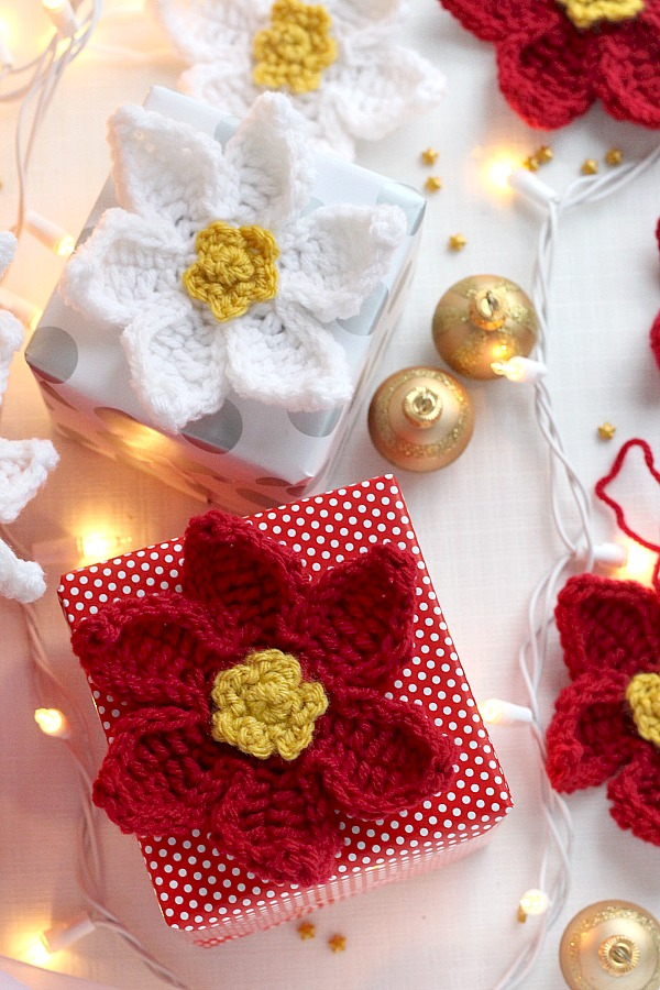 Crochet Poinsettia Flower Grateful Prayer Thankful Heart