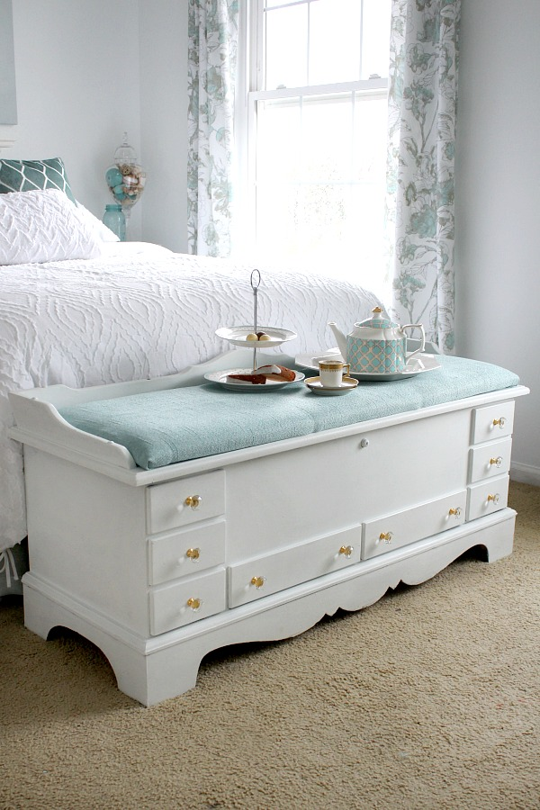 Refinished DIY vintage Lane cedar hope chest using chalk paint and sealing wax brought new life to a dark and dated piece of furniture. An easy makeover that looks beautiful in my Shabby chic, French Country room.