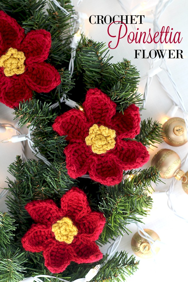 Make pretty crochet poinsettia flowers for holiday decorating. They work up quickly and are perfect for embellishing gifts, sewn to pillows, decorating wreaths or hung as ornaments. Make in traditional red or to match your home decor.