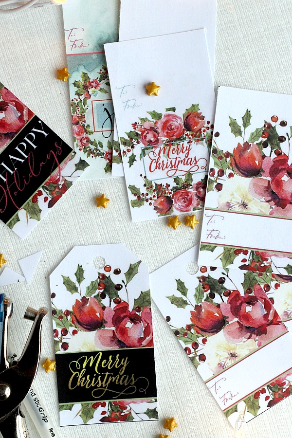 Pretty Holiday gift tags make presents look so festive. Christmas roses and holly have room to write recipient and givers name. Get your printable freebie.