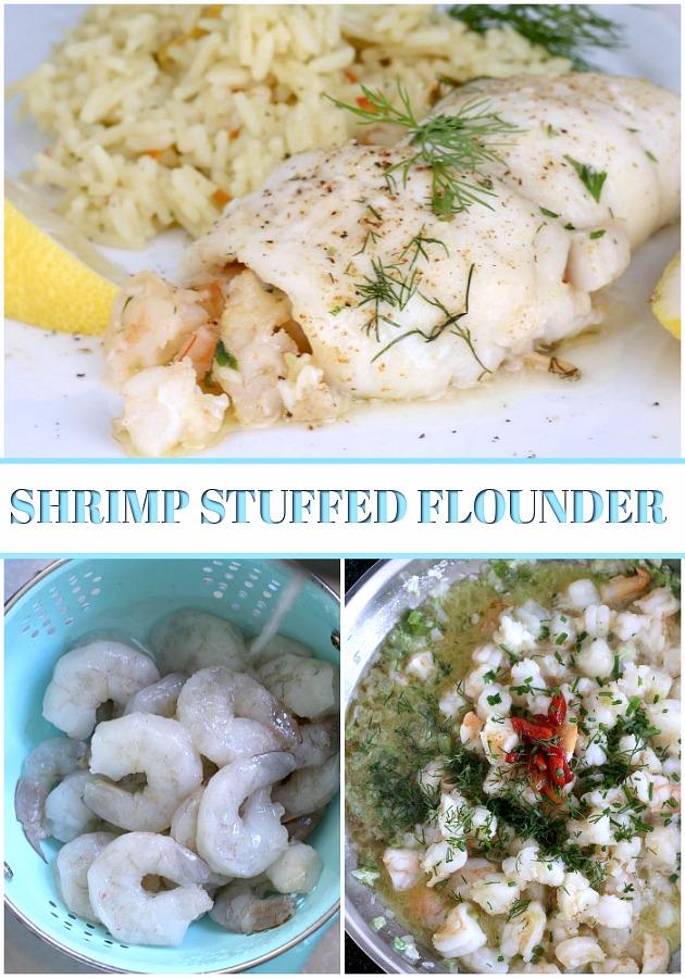 Delicious Shrimp Stuffed Flounder is easy and complany-special. Filled with sauteed veggies and seasonings, it is a favorite fish dinner entree.