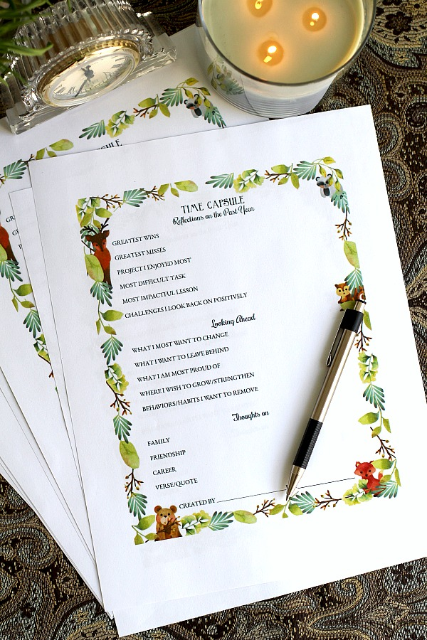 Create a New Year's eve time capsule with FREE printables and begin a family tradition to be enjoyed in the future. Look back and reminisce on thoughts, reflections and goals. Especially meaningful as children grow.