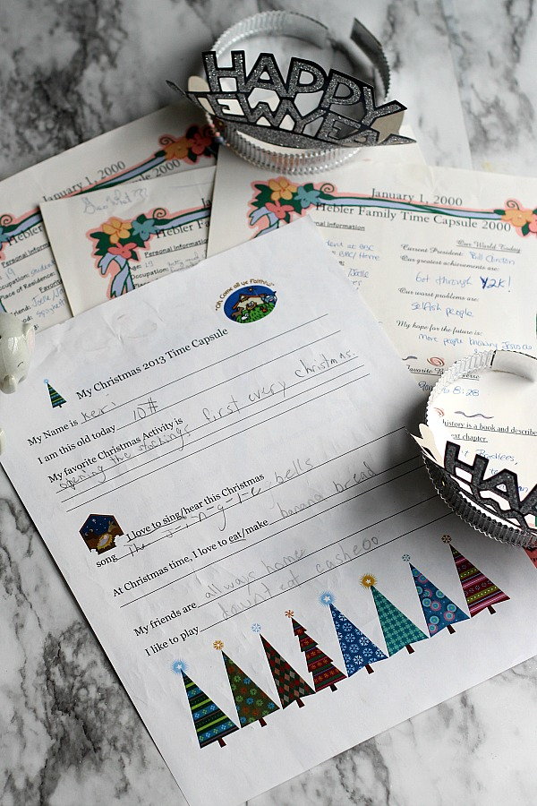 Create a New Year's eve time capsule and begin a family tradition to be enjoyed in the future. Look back and reminisce on thoughts, reflections and goals. Especially meaningful as children grow.