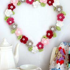 Valentine's Day Crochet Flower Heart