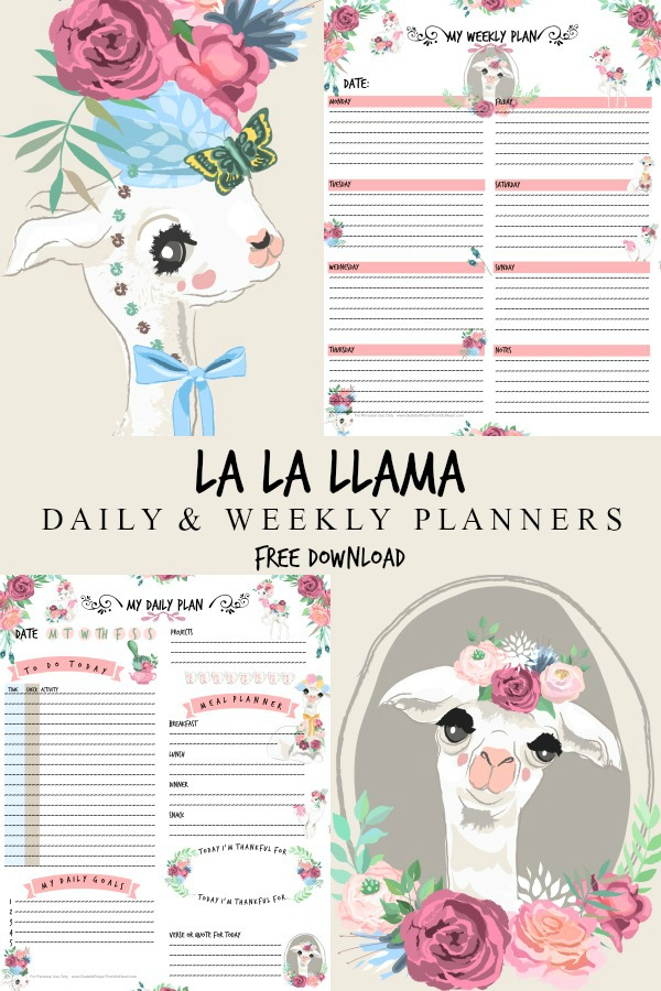 Jot down and keep track of all those tasks, projects and appointments with adorable Llama weekly & daily planners. Click for your free download.