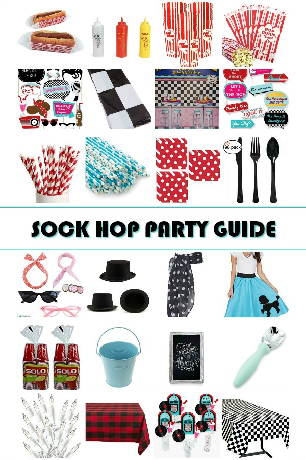 Plan a super fun birthday party celebration. Convenient Sock Hop Party Shopping Guide will help save you lots of time as you gather items and supplies.