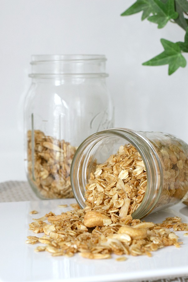 Perk up breakfast time with an amazingly tasty and nutritious granola. Delicious, less expensive than many store bought versions and so easy to make at home. Great for snacking, with yogurt, ice cream and packaged for lovely gift-giving treats.