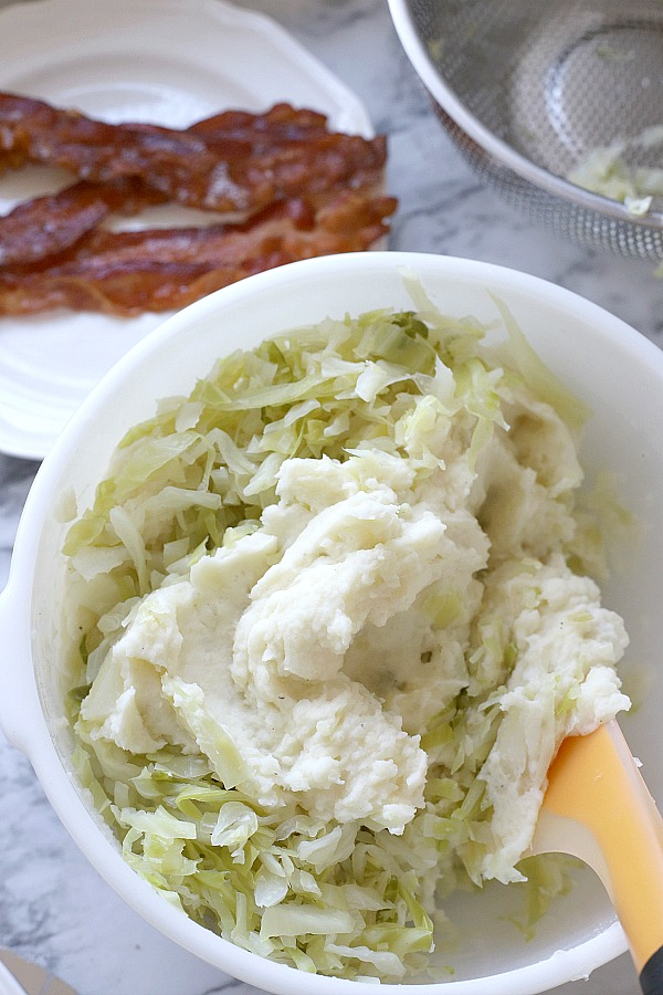 A traditional Irish side dish, colcannon is a filling and delicious combination of potatoes, cabbage and bacon. A must for dinner each St Patrick's Day.