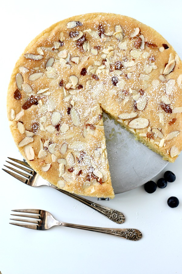 Swedish Visiting Cake with almonds is a delicious small-sized cake ready in no time. Whisked together in one bowl and baked until golden, it is a great recipe to keep near when you need a quick dessert.