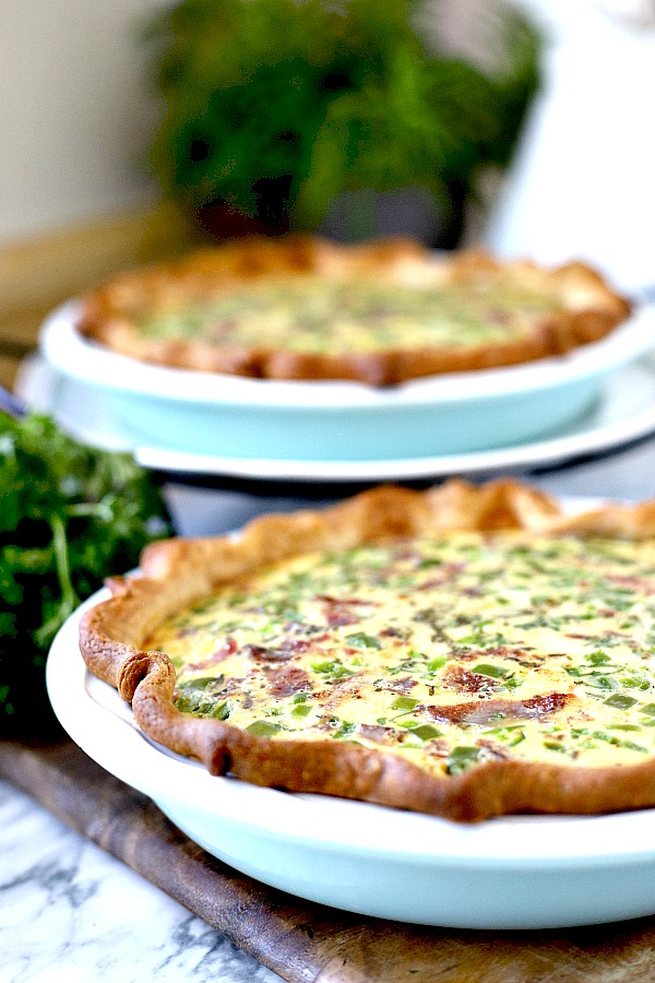 Classic Quiche Lorraine is a favorite for breakfast or brunch. Creamy Swiss cheese filling with bacon in a flaky crust is easy and delicious. Instead of cream, this version uses evaporated milk for a creamy filling.