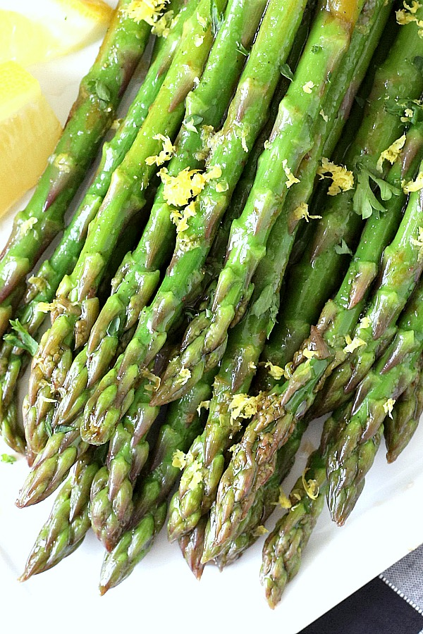 Springtime is the season for asparagus and it is a vegetable that just seems to make a meal more special. The asparagus in this balsamic vinaigrette marinade is tender yet crunchy with a bright flavor from lemon zest. It is so easy to make with just a quick blanching. Pour on the salad dressing marinade and refrigerate until serving. A lovely Easter or brunch side dish.