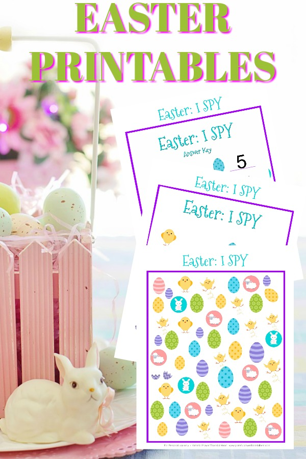 FREE download I Spy Easter Printable kids will enjoy. Colorful and fun seek and count page and activity to keep them entertained before and after your holiday celebration.