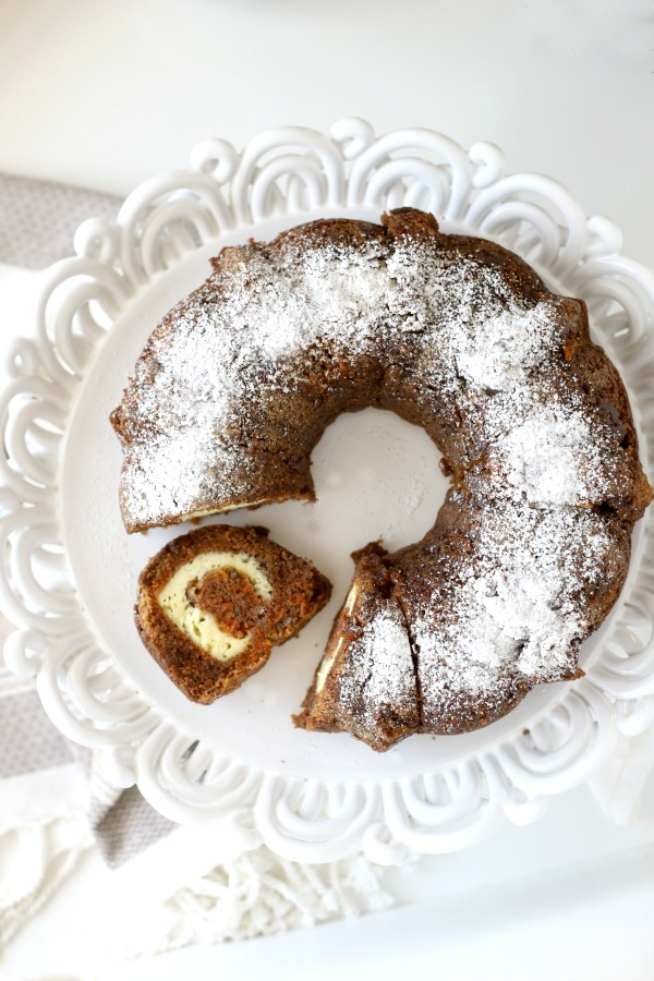 Inside this lovely surprise carrot Bundt cake is a swirly tunnel of yummy cream cheese. So moist and delicious, all that is needed is a dusting of confectioners' sugar. A sweet addition for your Easter dessert table.