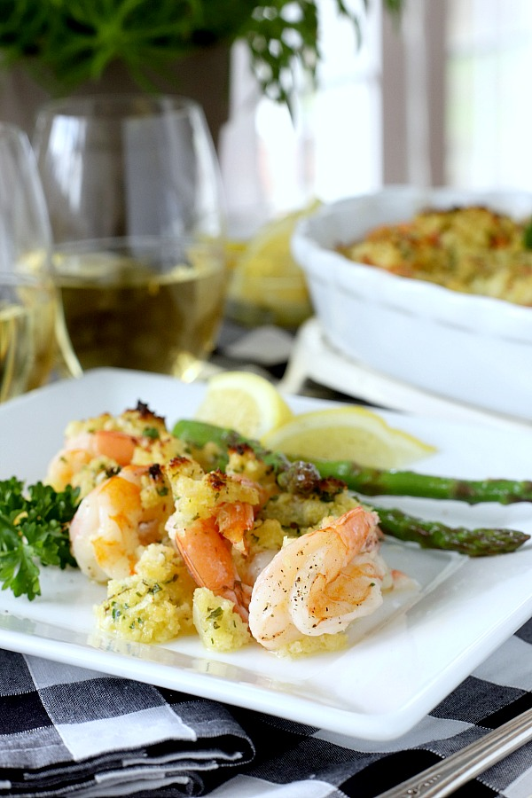 It couldn't get any easier to make delicious baked shrimp scampi. Arranged in a baking dish, the shrimp are topped with a buttery herb mixture and popped into the oven until hot and bubbly.