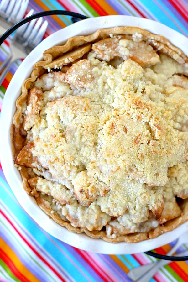 Sweet streusel topping makes this apple crumb pie an old-fashioned favorite dessert. Easy recipe with a filling of apples and crumb topping baked until the apples are sweet and tender. Serve with or without a scoop of vanilla ice.