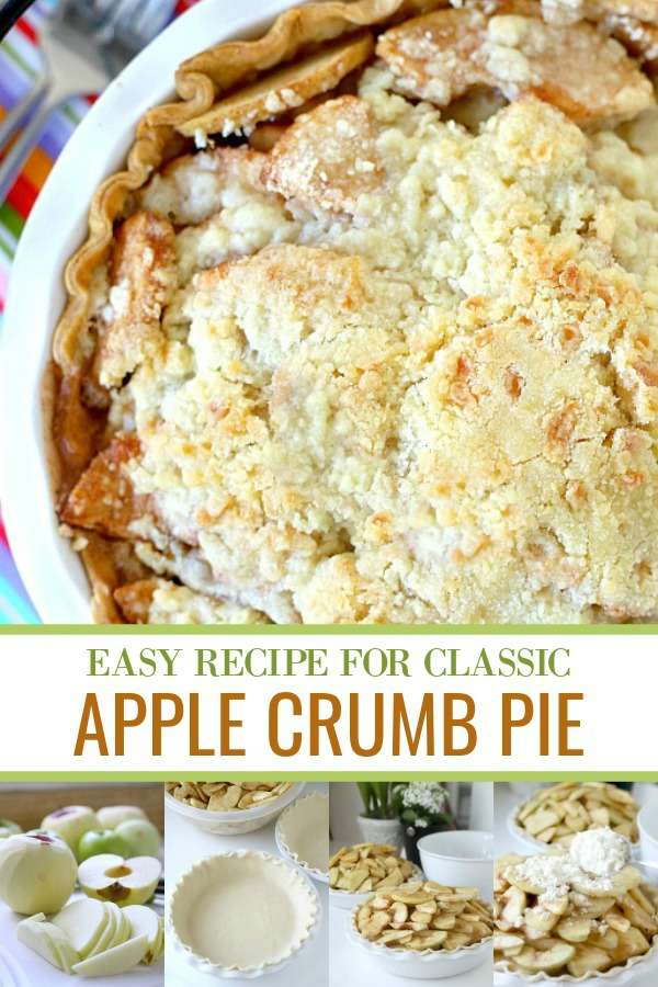 Apple crumb pie with its tender apples and sweet streusel topping is easy and delicious. Perfect dessert for 4th of July celebrations and desserts.