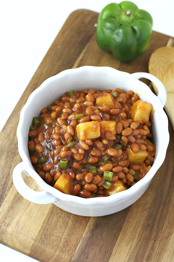Everyone's favorite cookout side, Hawaiian Baked Beans with pineapple, molasses and brown sugar is quick and easy. Make this recipe on the stove top or bake in the oven. A perfect side for burgers and hotdogs.