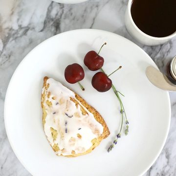 Perfect for a tea party or as a breakfast treat, sweet lavender scones have a light hint of lavender from lavender buds. Frosted with a glaze, they are just right with coffee or tea.