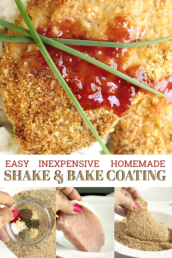 Easy and inexpensive, recipe for homemade shake and bake coating makes moist and delicious pork chops in the oven with no messy frying.