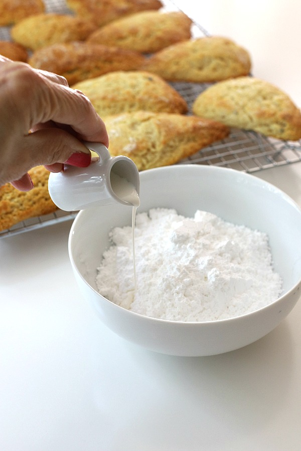 A hint of lavender gives sweet lavender scones a unique and lovely flavor using lavender buds from the herb garden. A light glaze makes them perfect.