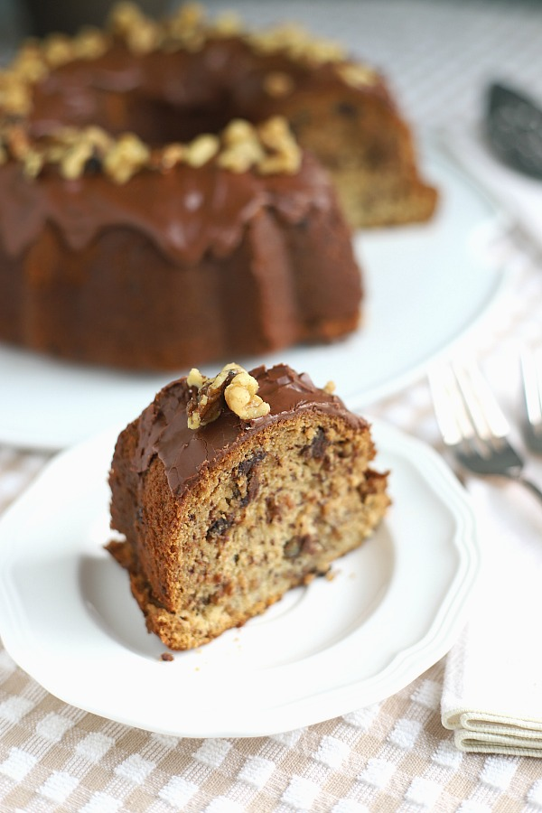 Sour cream is what makes this banana chocolate chip Bundt cake so moist and delicious. Serve with or without the chocolate frosting for a lovely dessert.