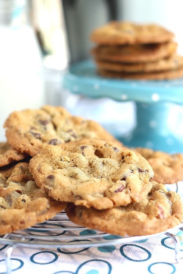 Of all the cookie recipes these Crunchy Chocolate Chip Cookies have a perfect balance of crunch on the outside and just the right chewiness on the inside. Lots of chocolate chunks and very satisfying!