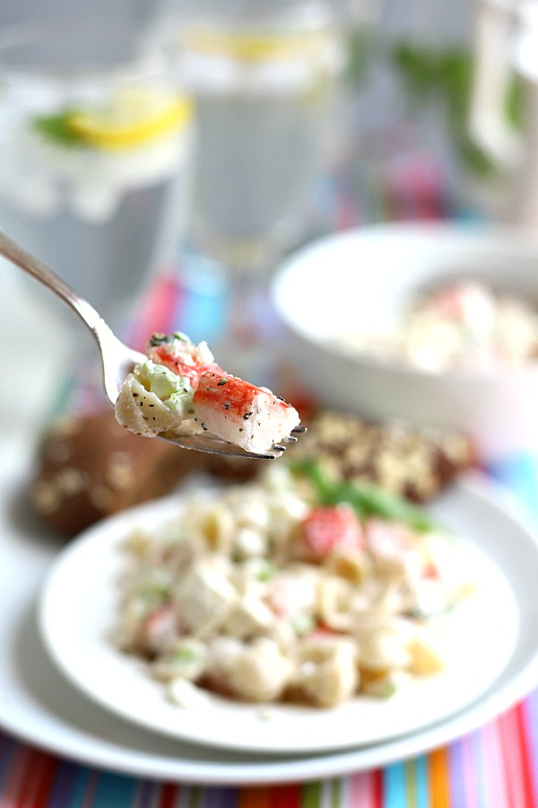 A light yet satisfying lunch or dinner, low in calories and not too heavy, pasta crab salad won't leave you feeling hungry. Easy recipe using imitation crab.