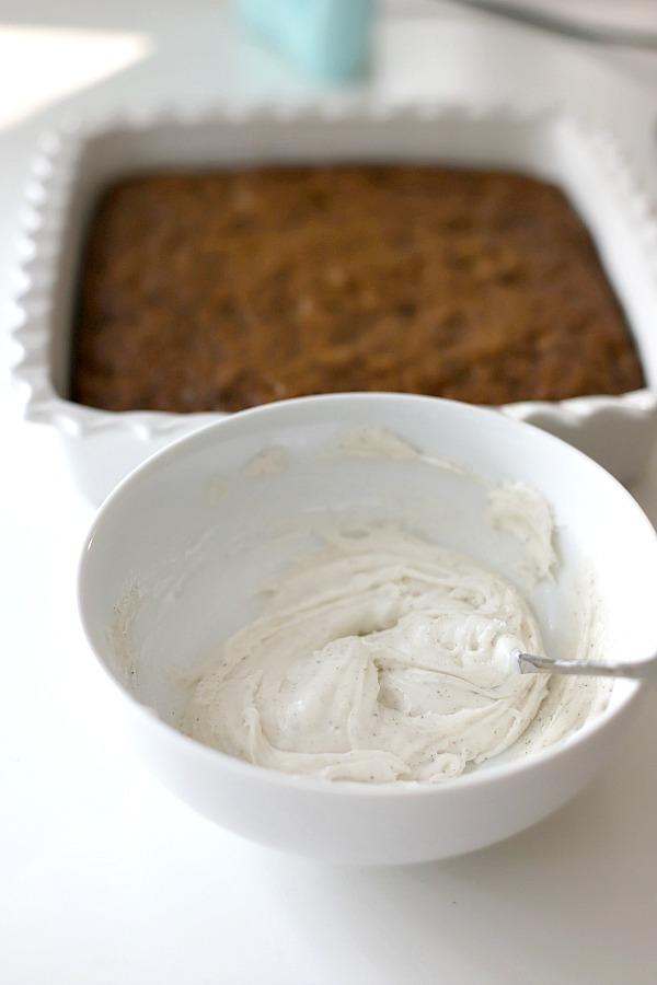 How to make the frosting for zucchini bars with spice frosting.