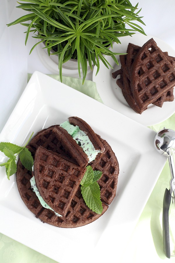 Cake Mix Chocolate Waffles filled with mint chocolate chip (or your favorite) ice cream is an easy to make dessert and a fun change from birthday cupcakes.