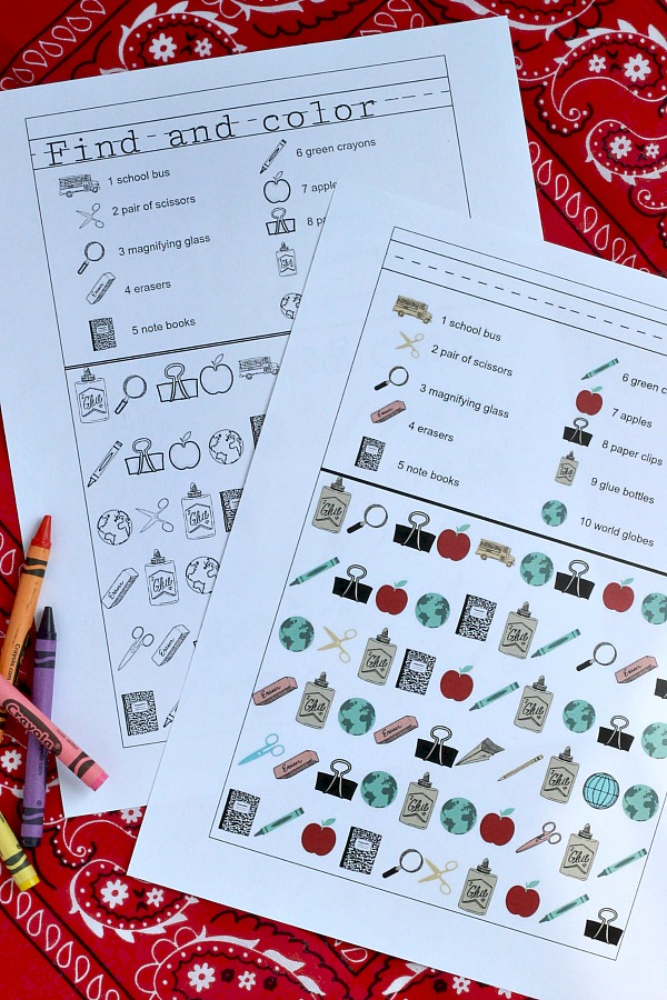 Back to school FREE printable for kids, find and color activity pages help with counting as little ones prepare for preschool, kindergarten and homeschool.
