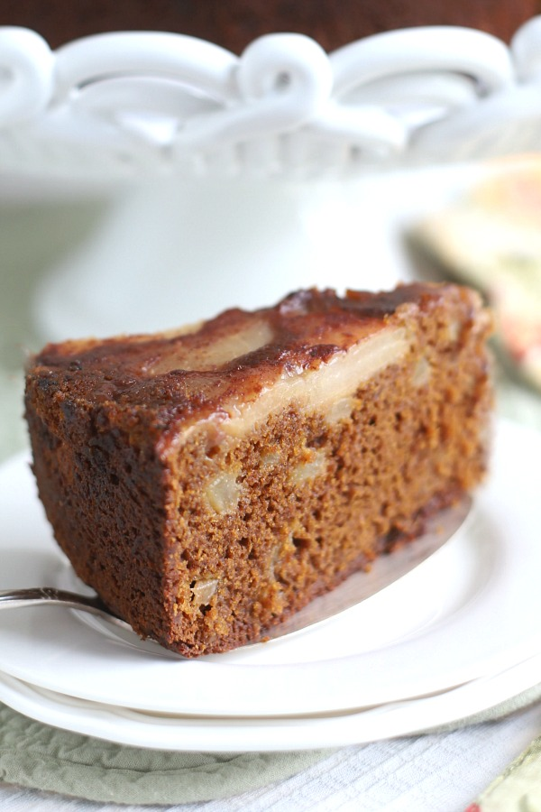 Perfect fall and Thanksgiving dessert, spiced pear upside down cake is full of autumn flavors like cinnamon, ginger, allspice and nutmeg. Caramelized pears top with additional pears in the batter making it a moist and delicious cake.