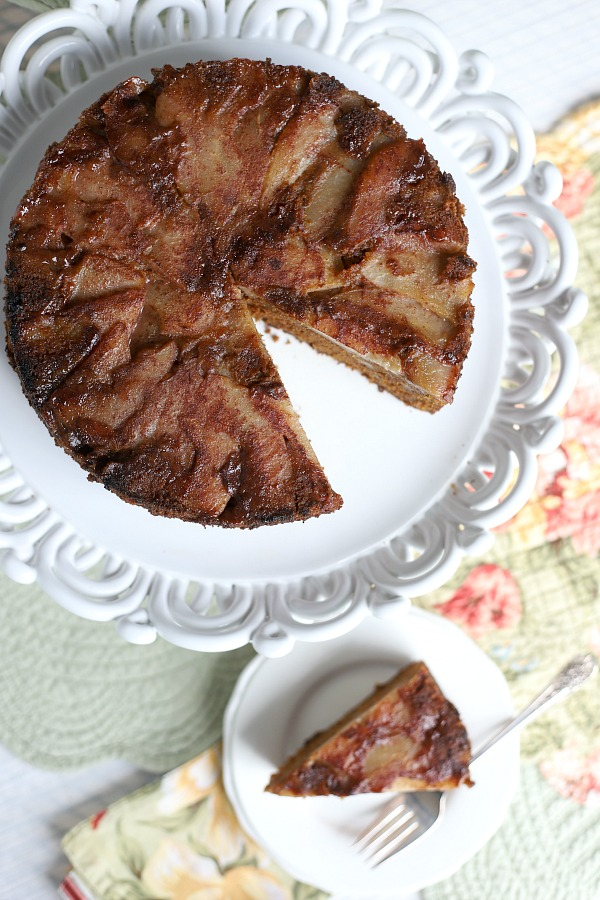 Spiced Pear Upside Down Cake is a deliciously moist cake with the wonderful flavors of cinnamon, ginger, allspice, nutmeg with a caramelized pear topping.