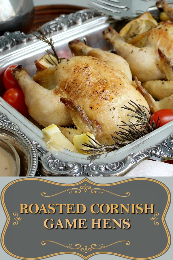 Roasted Cornish game hens part of a Downton Abbey dinner menu.