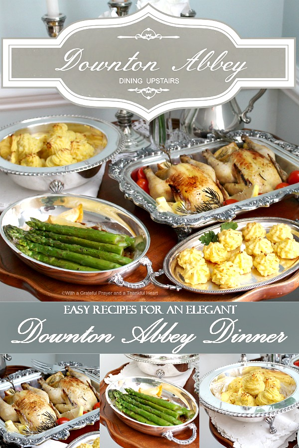 Create an elegant Downton Abbey dinner of Roasted Cornish Game Hens, Decadent Duchess Potatoes, Baked Asparagus and Crème Brûlée. Easy recipes for a charming evening with friends or your sweetheart.