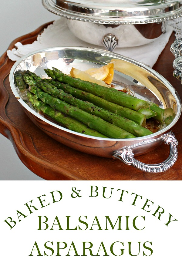 Baked and buttery balsamic asparagus is part of an easy yet elegant Downton Abbey dinner with roasted Cornish game hens and Decadent Duchess Potatoes.
