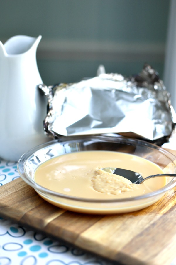 Easy oven method to make homemade caramel sauce quick and easy using sweetened condensed milk! Use on ice cream, apple pie, apple slices, gingerbread, bread pudding and cakes. Also makes a lovely food gift!