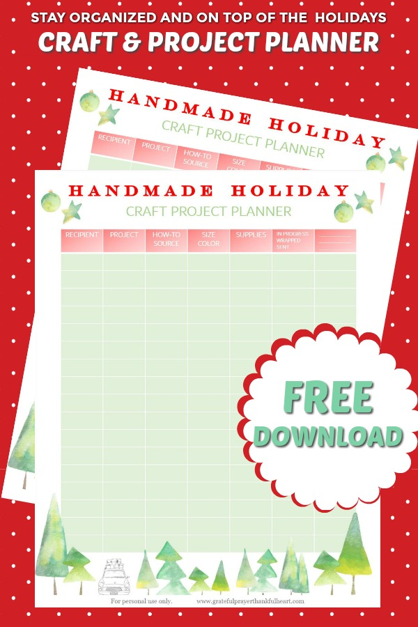 Stay organized and on top of the busy Christmas and Hanukkah season with a helpful Handmade Holiday Craft and Project Planner. Free download printable to keep tack of knitting, crochet and craft and gift projects.