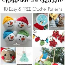10 of the cutest crochet Christmas ornaments with free patterns that are easy! Including trees, snowmen, angels, lights, stars and garland. Use to decorate, trim the holiday tree, give as gifts and embellish presents.