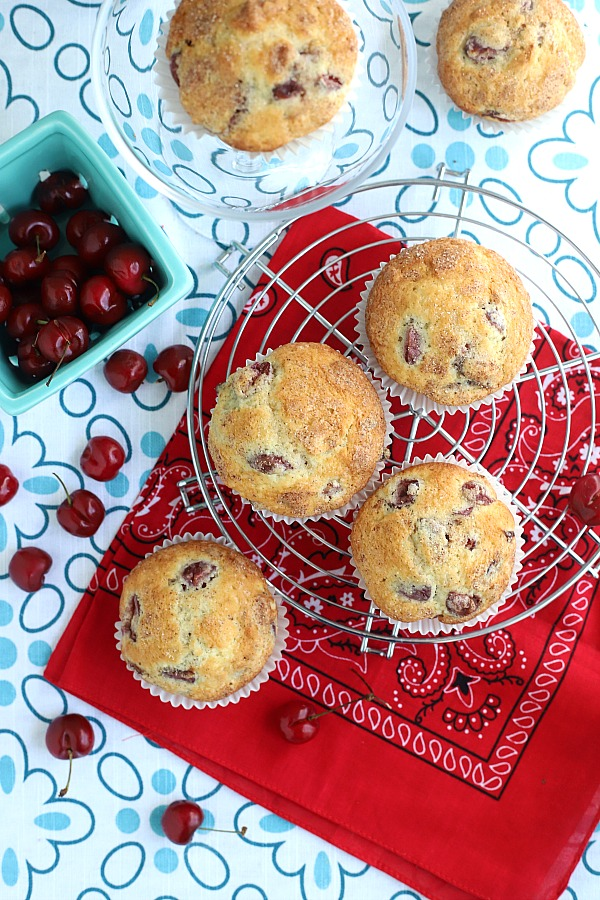 Bake a batch of cherry almond muffins for breakfast, snacking or teatime. Their cake-like texture filled with chunks of cherry and toasted almonds make them a hit! Easy recipe that goes together fast.