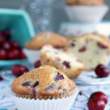 Tender cake-like muffins are light textured filled with fruit and nuts. Easy recipe for cherry almond muffins perfect for breakfast, snacking and teatime.